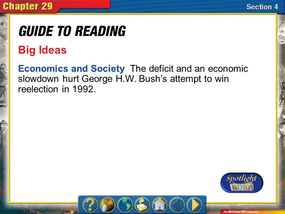 Big Ideas Economics and Society The deficit and an economic slowdown hurt George H.W. Bush's attempt to win reelection in 1992.
