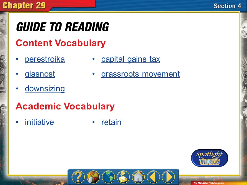 Content Vocabulary Academic Vocabulary perestroika glasnost downsizing