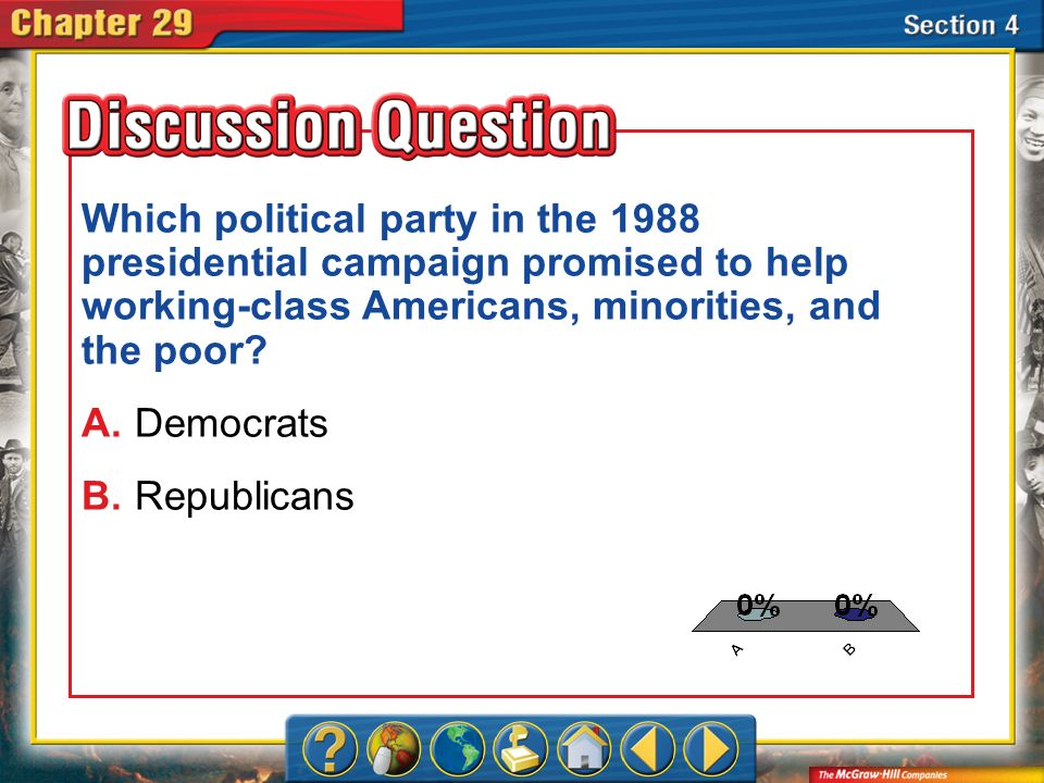 Which political party in the 1988 presidential campaign promised to help working-class Americans, minorities, and the poor