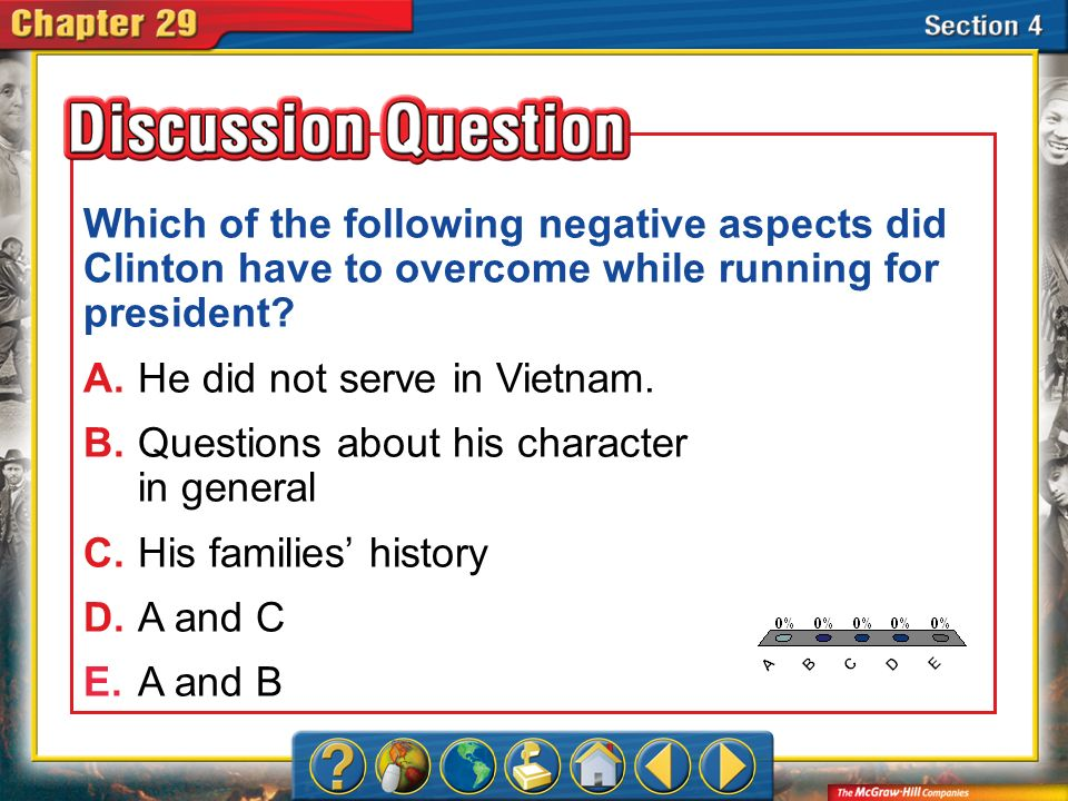 Which of the following negative aspects did Clinton have to overcome while running for president