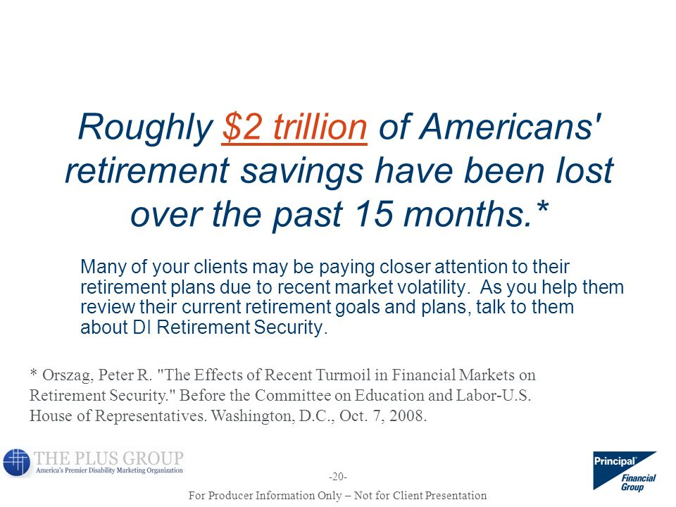 Roughly $2 trillion of Americans retirement savings have been lost over the past 15 months.*