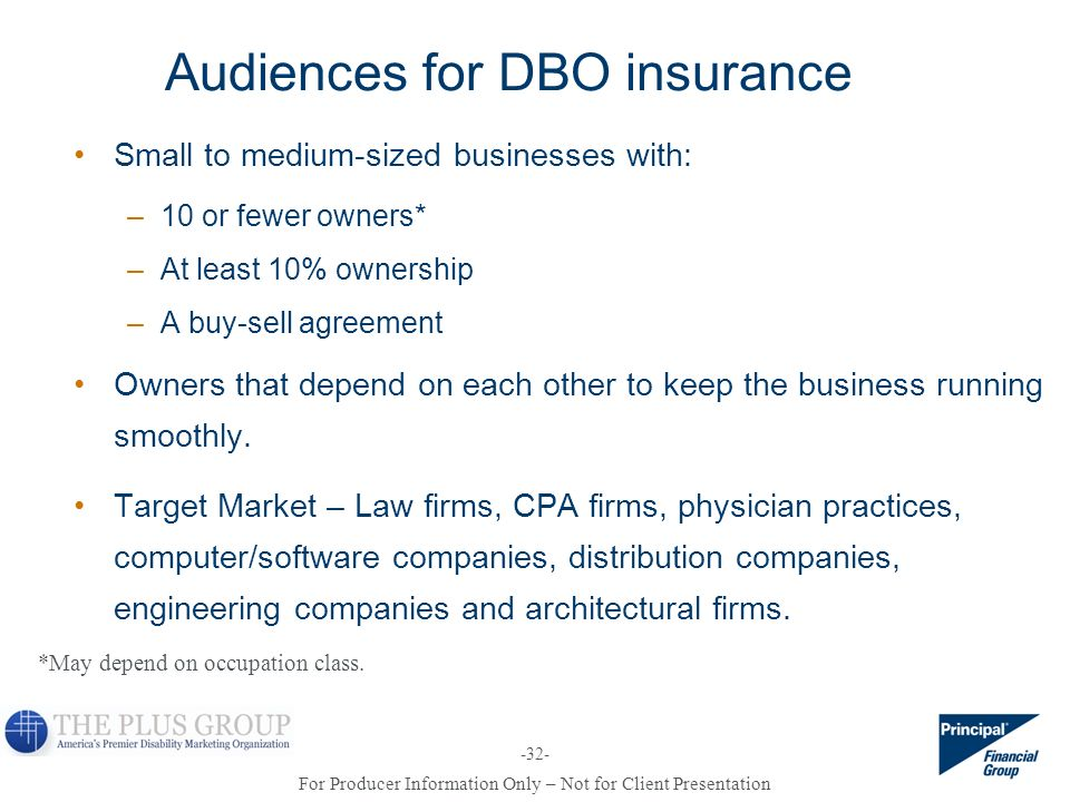 Audiences for DBO insurance