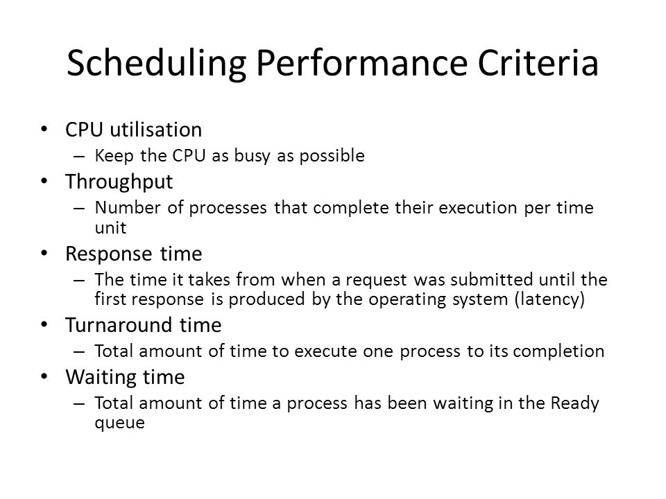Scheduling Performance Criteria