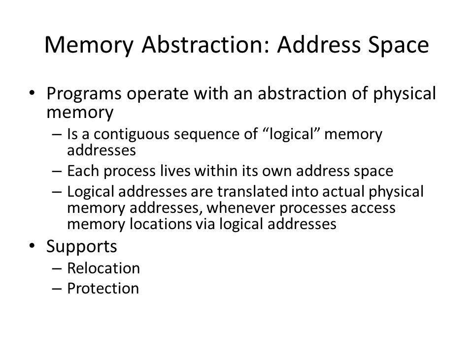 Memory Abstraction: Address Space