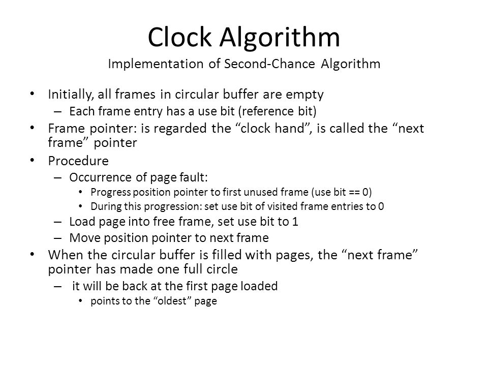 Clock Algorithm Implementation of Second-Chance Algorithm