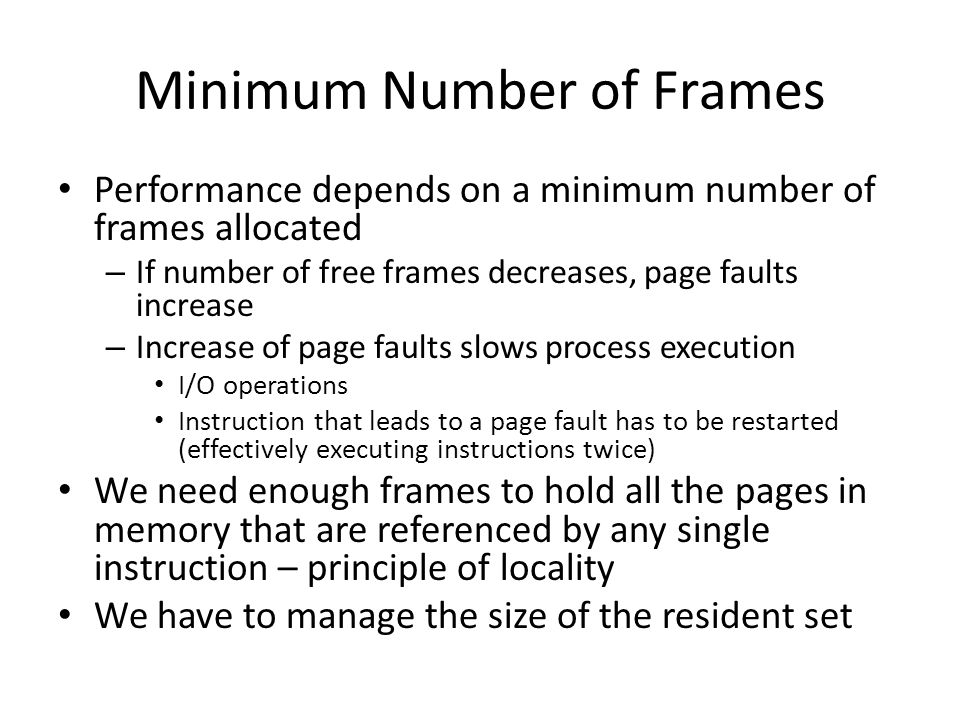 Minimum Number of Frames