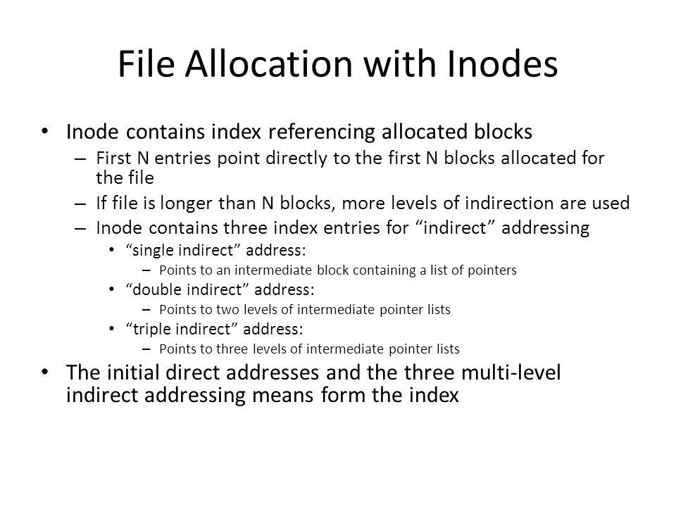File Allocation with Inodes