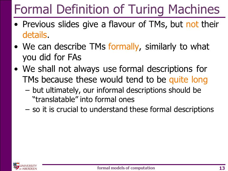 Formal Definition of Turing Machines