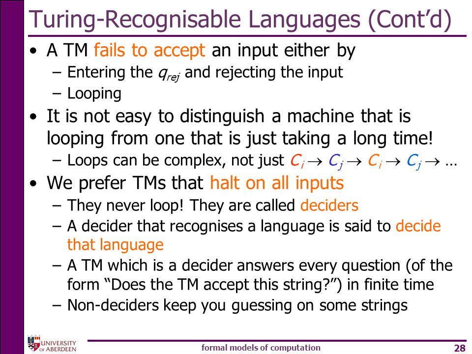 Turing-Recognisable Languages (Cont'd)