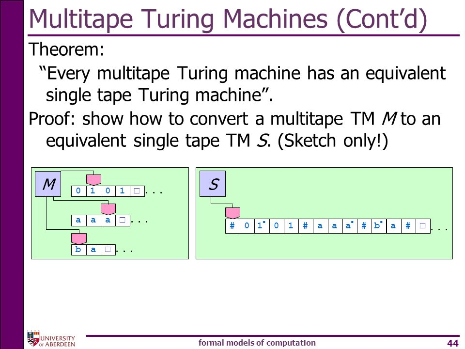 Multitape Turing Machines (Cont'd)