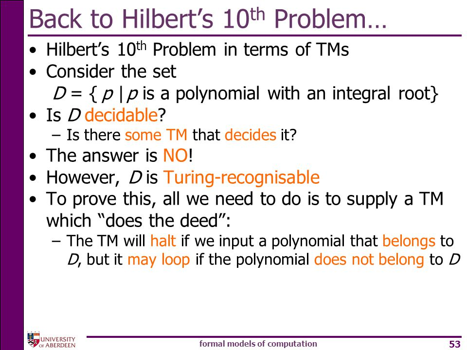 Back to Hilbert's 10th Problem…