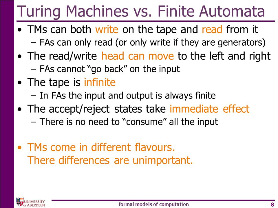 Turing Machines vs. Finite Automata