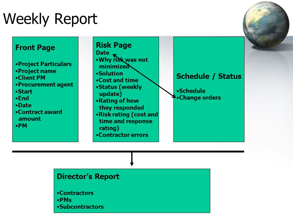 Weekly Report Risk Page Front Page Schedule / Status Director's Report