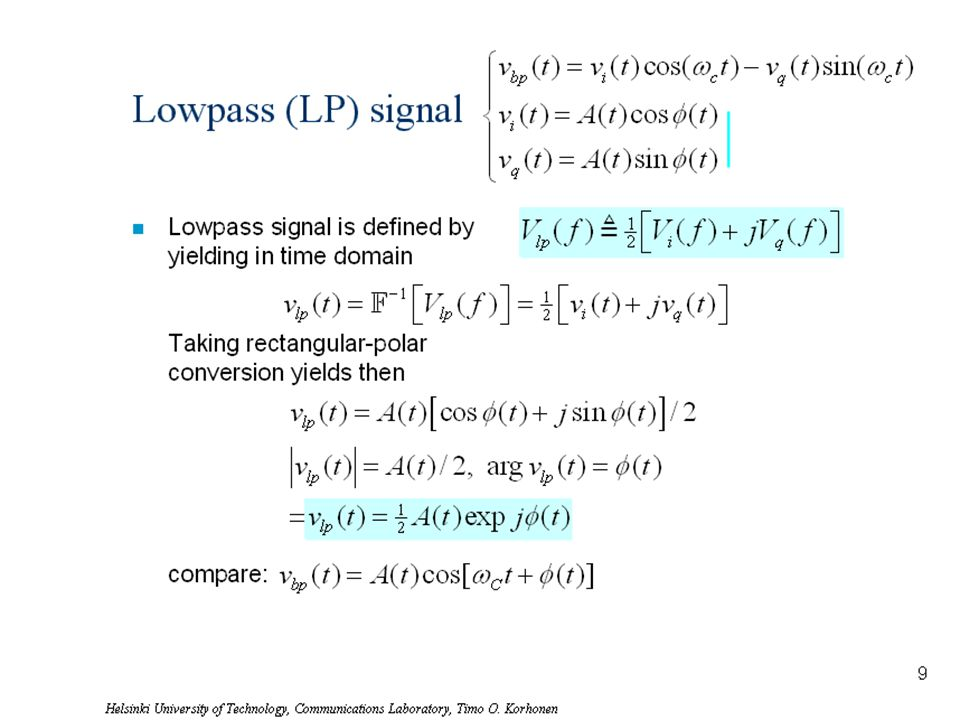Lowpass (LP) signal Lowpass signal is defined by yielding in time domain Taking rectangular-polar conversion yields then compare: