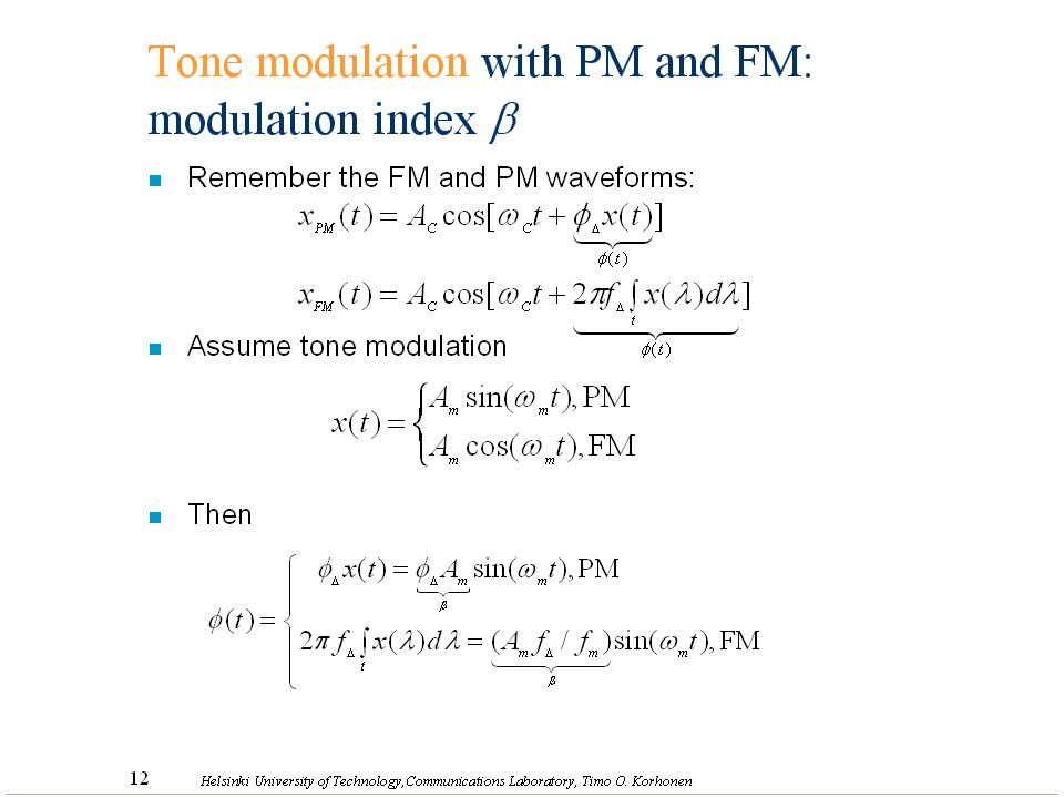 Tone modulation with PM and FM: modulation index b