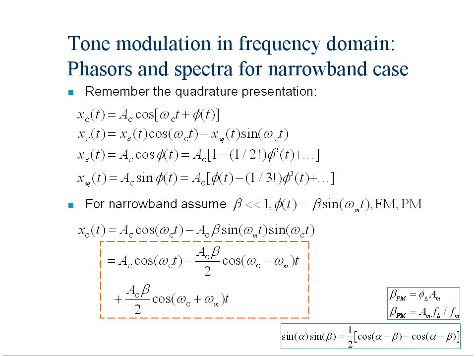 Tone modulation in frequency domain: Phasors and spectra for narrowband case