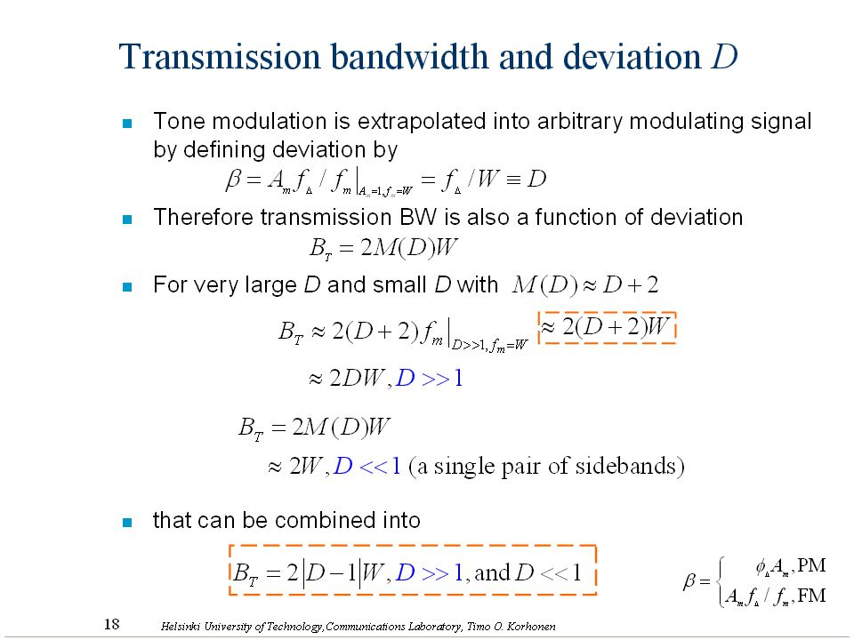 Transmission bandwidth and deviation D
