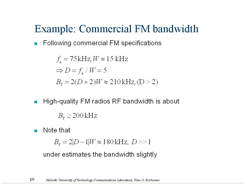 Example: Commercial FM bandwidth