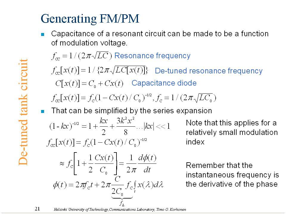 Generating FM/PM De-tuned tank circuit