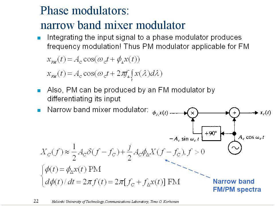 Phase modulators: narrow band mixer modulator