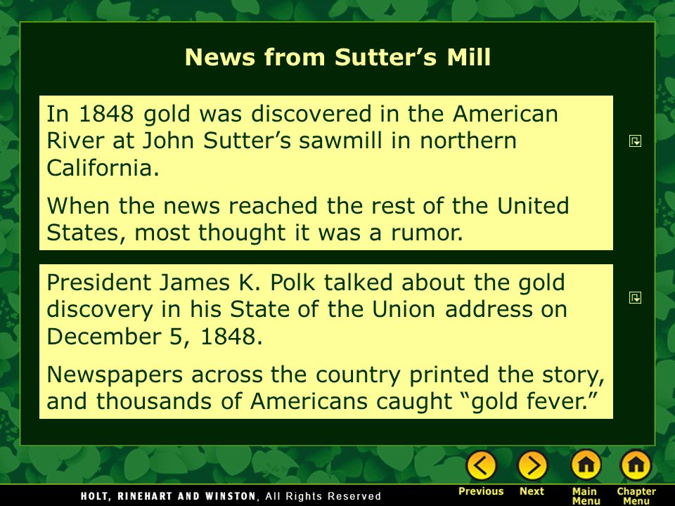 News from Sutter's Mill