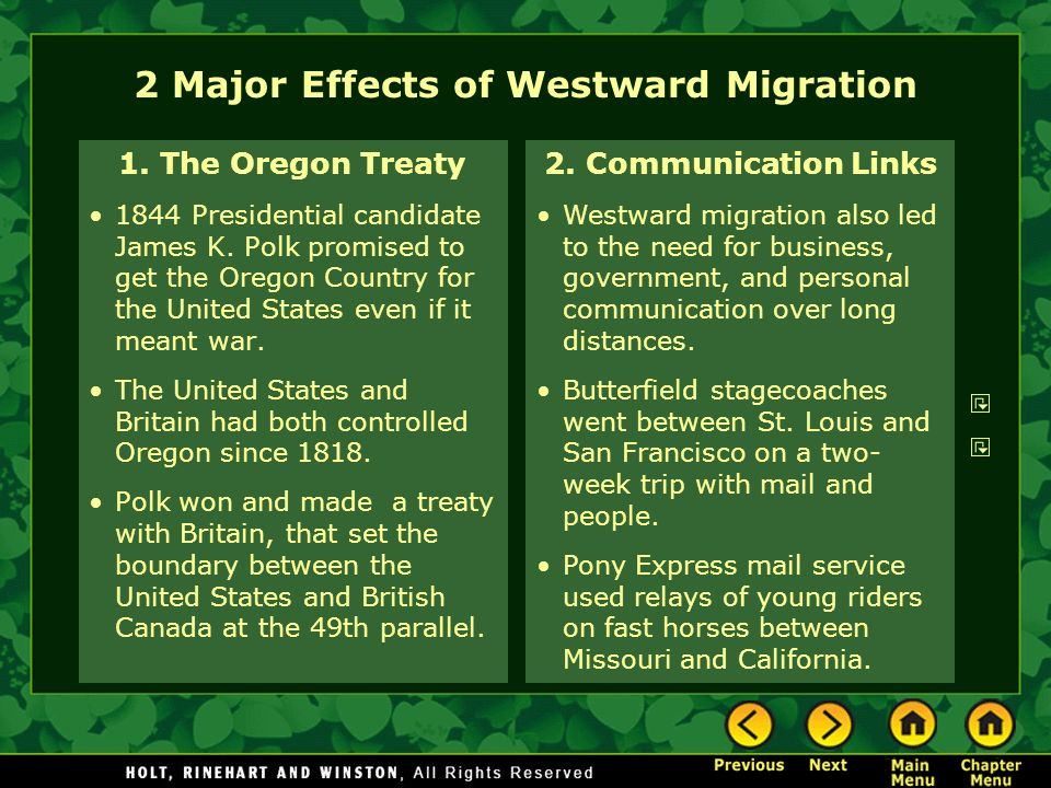 2 Major Effects of Westward Migration