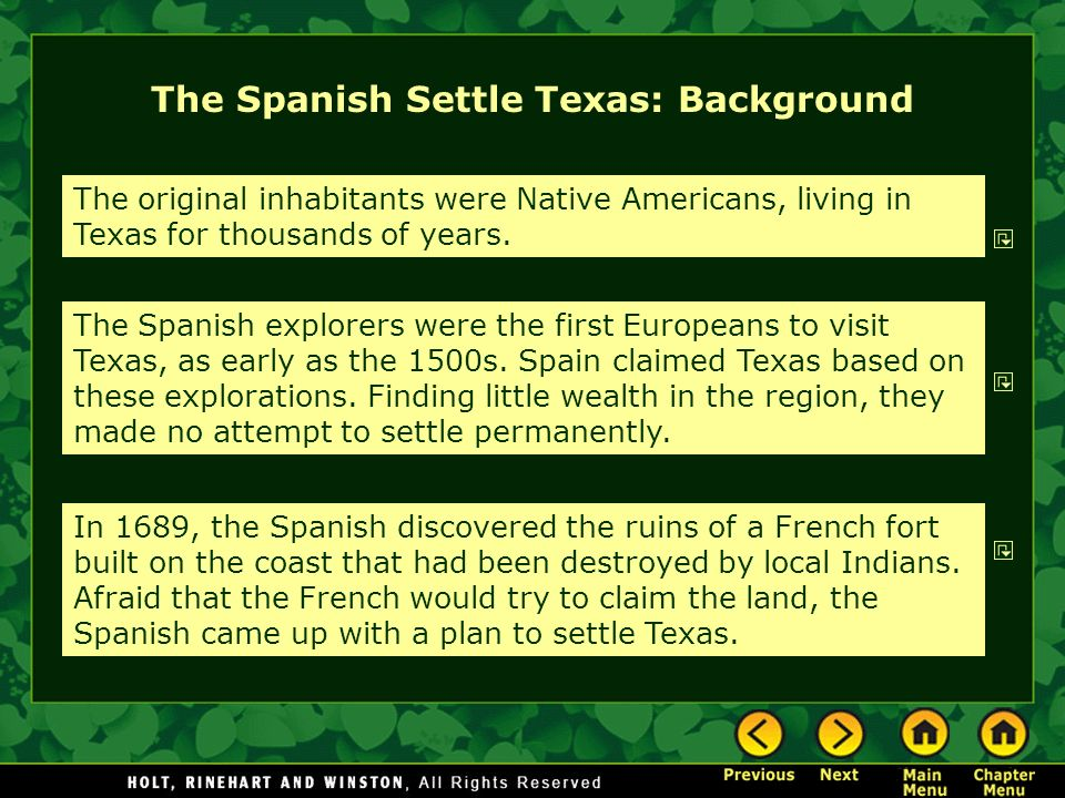 The Spanish Settle Texas: Background