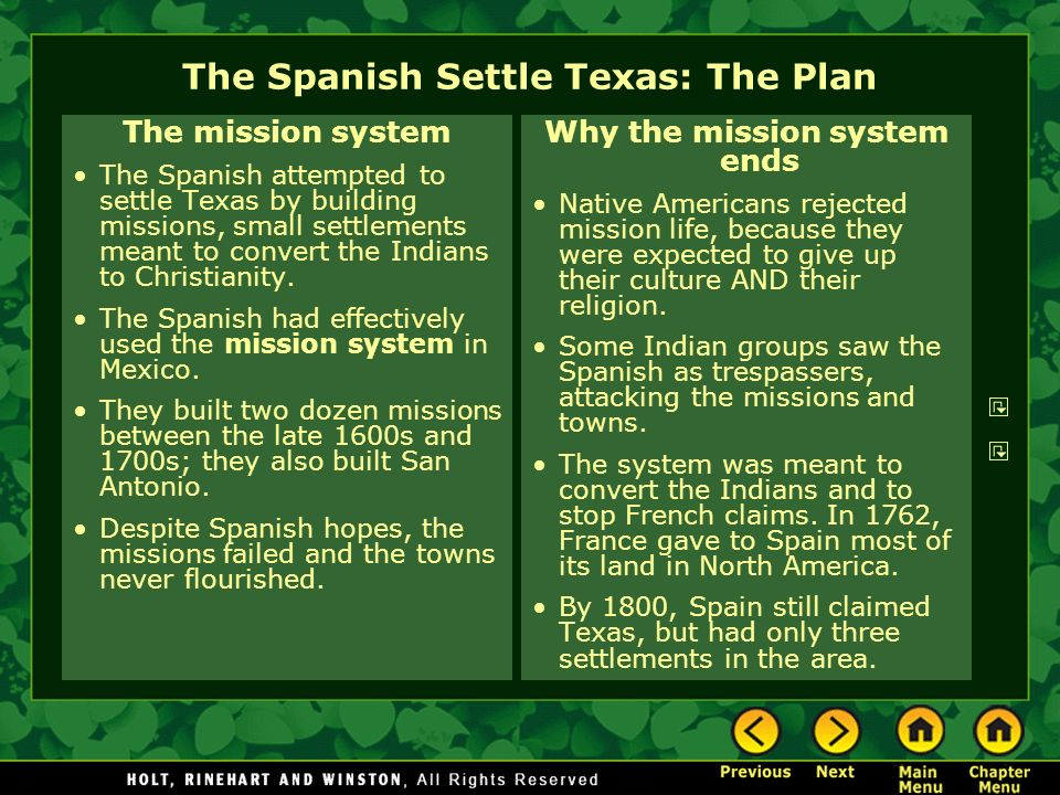 The Spanish Settle Texas: The Plan