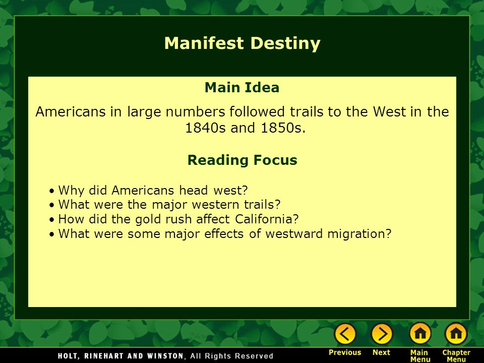 Manifest Destiny Main Idea