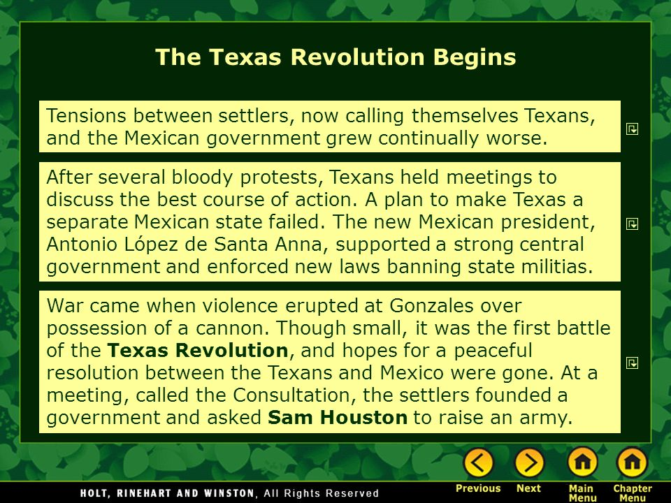 The Texas Revolution Begins