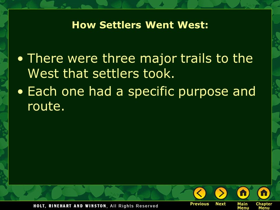 How Settlers Went West: