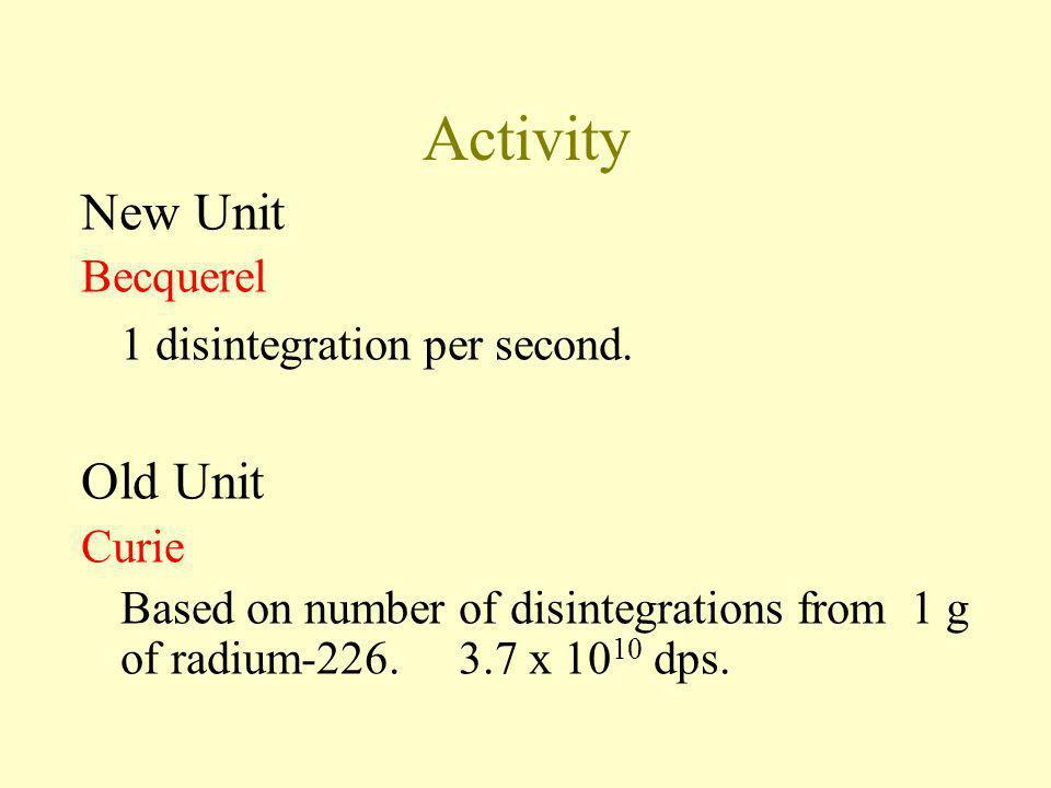 Activity New Unit Old Unit Becquerel 1 disintegration per second.