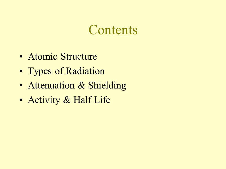 Contents Atomic Structure Types of Radiation Attenuation & Shielding