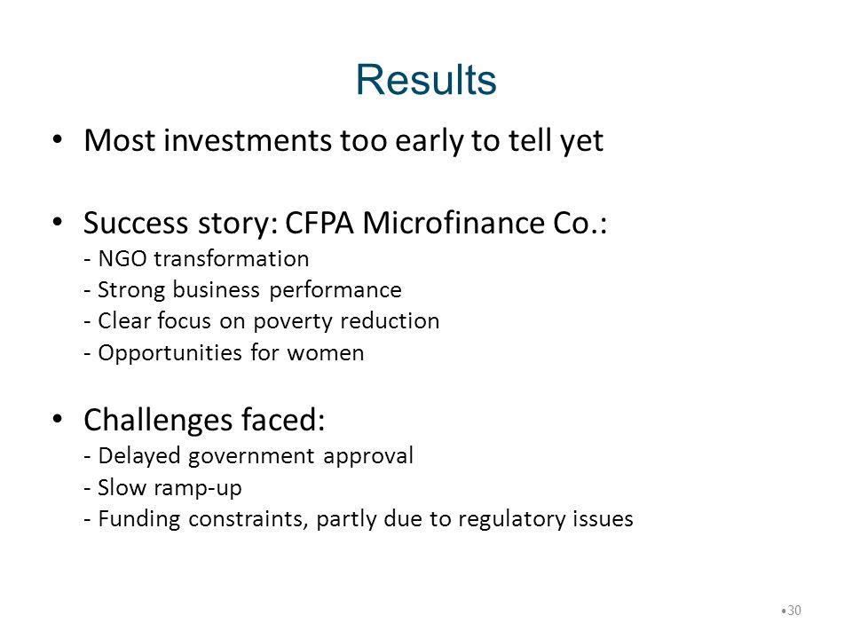 Results Most investments too early to tell yet