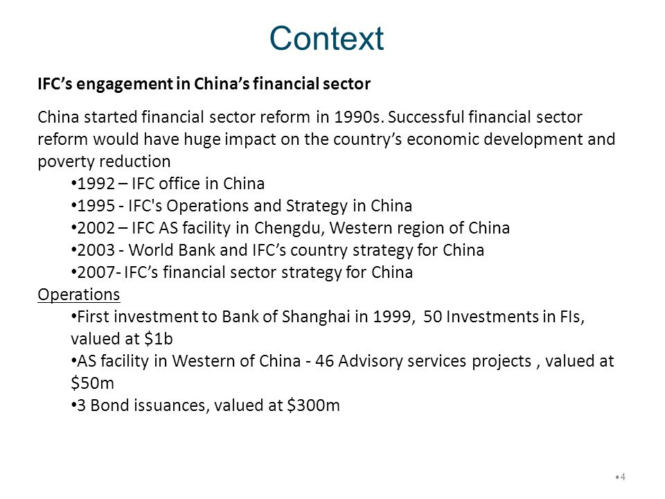 Context IFC's engagement in China's financial sector