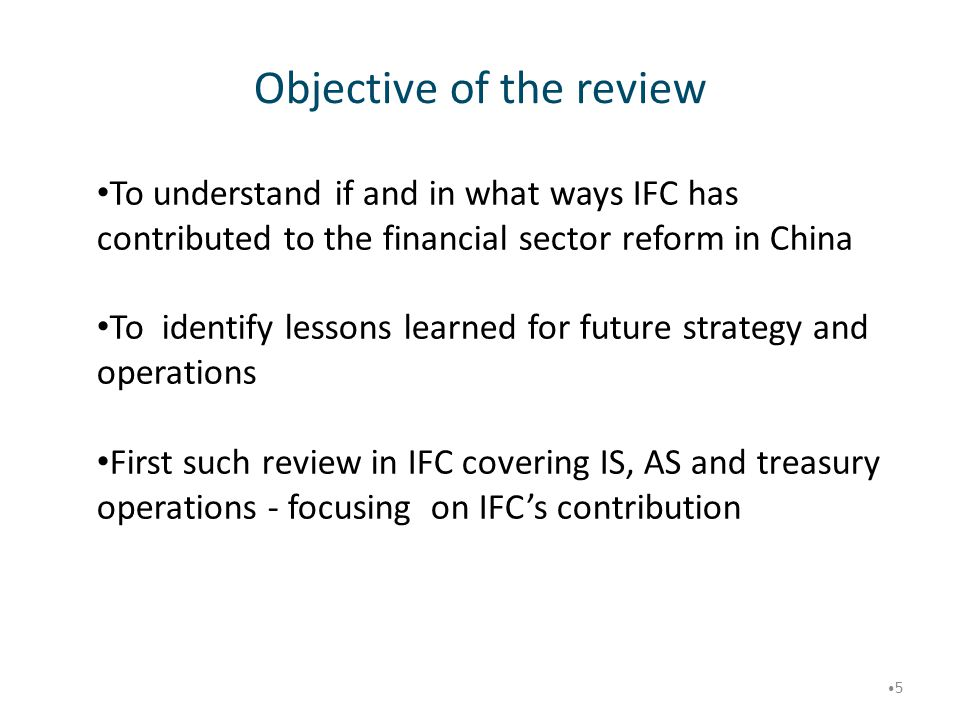 Objective of the review