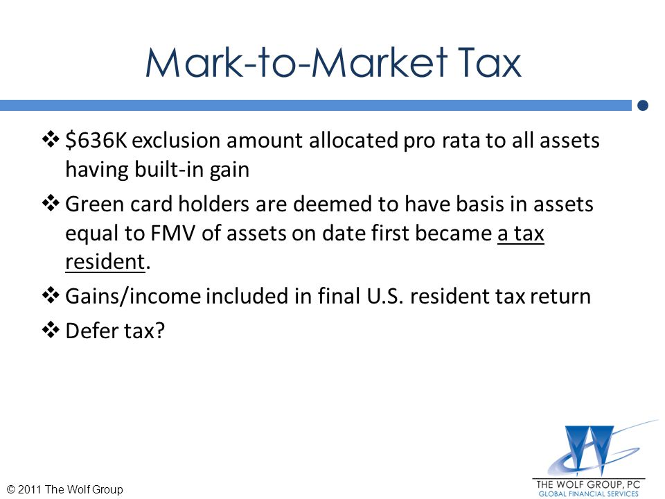 Mark-to-Market Tax $636K exclusion amount allocated pro rata to all assets having built-in gain.