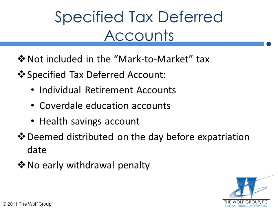 Specified Tax Deferred Accounts