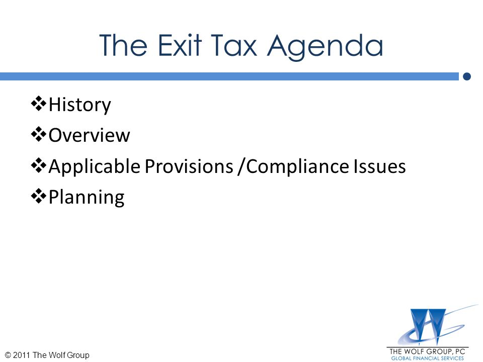 The Exit Tax Agenda History Overview