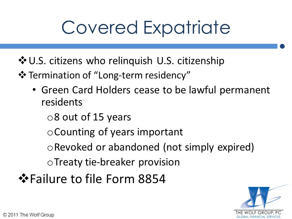 Covered Expatriate Failure to file Form 8854