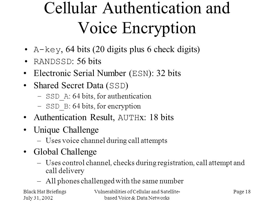 Cellular Authentication and Voice Encryption
