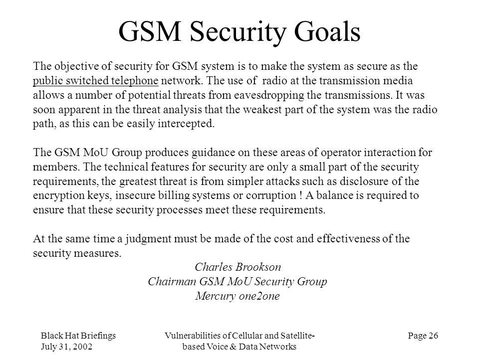 GSM Security Goals