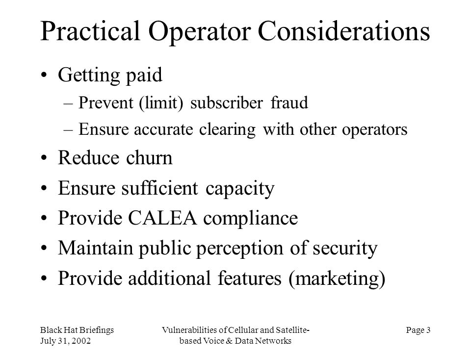 Practical Operator Considerations
