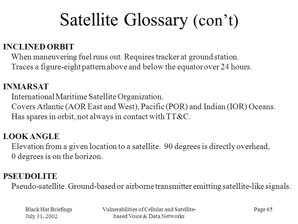 Satellite Glossary (con't)