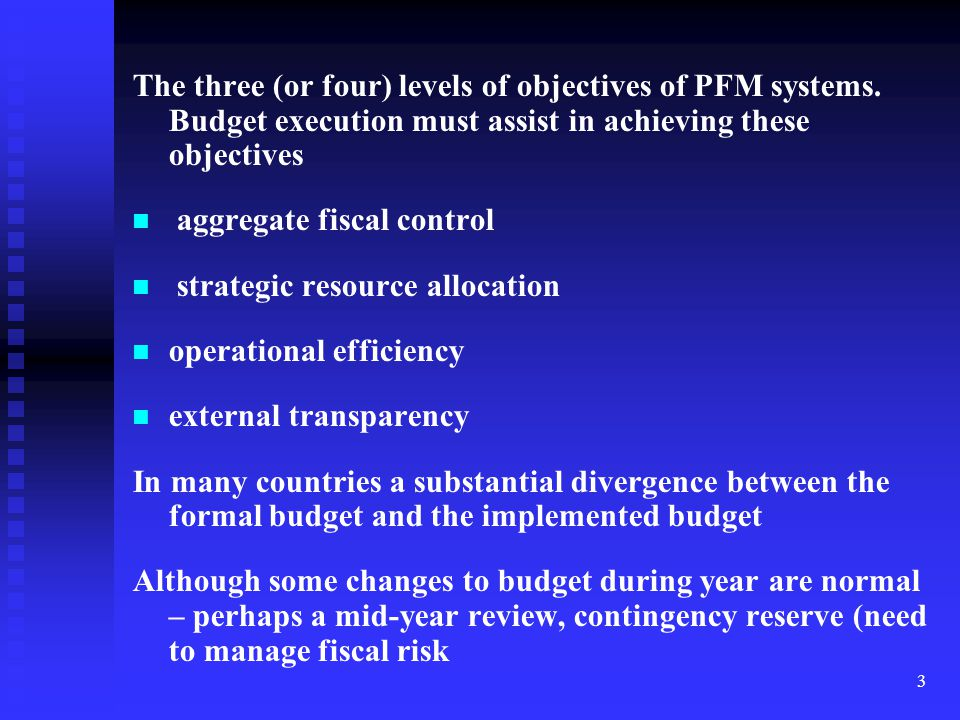 The three (or four) levels of objectives of PFM systems