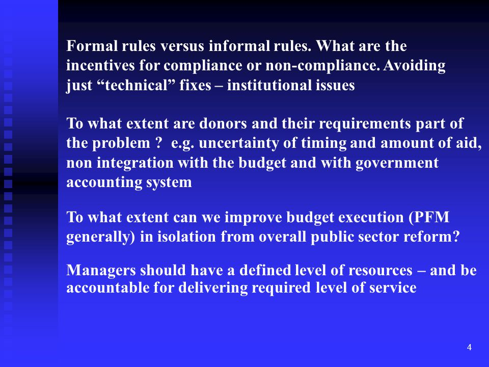 Formal rules versus informal rules
