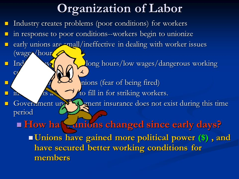 Organization of Labor How have unions changed since early days