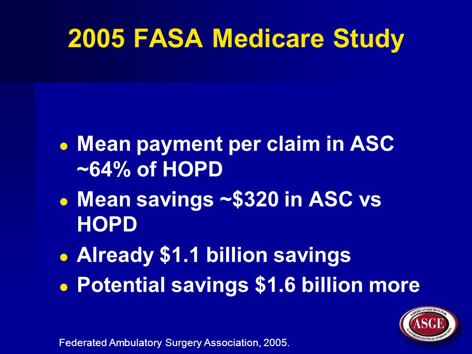 2005 FASA Medicare Study Mean payment per claim in ASC ~64% of HOPD