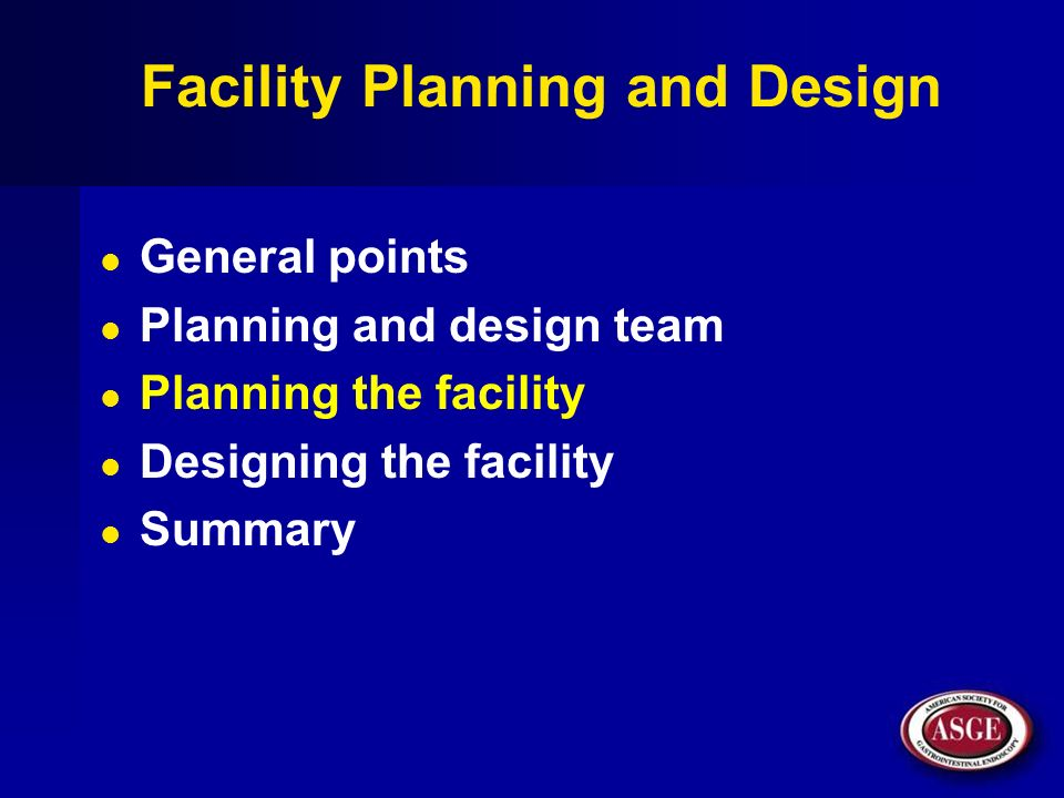 Facility Planning and Design