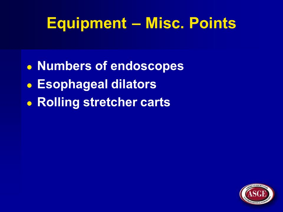 Equipment – Misc. Points